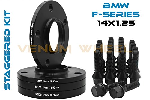 Complete Set Of 10mm & 15mm Staggered Bmw Black Hub Centric Wheel Spacers 5x120-72.56 H.B - F30 F31 320 328 335 F80 M3 F32 F82 M4 435 F22 F23 228 235 F10 528 535 M5 F11
