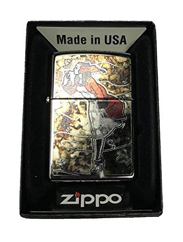 Zippo Custom Lighter - Vintage Windy Lady Fusion - High Polish Chrome