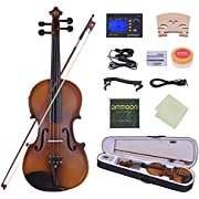 ammoon Full Size 4/4 Acoustic Electric Violin Fiddle Solid Wood Body Ebony Fingerboard Pegs Chin Rest Tailpiece with Bow Hard Case Tuner Shoulder Rest Rosin Extra Strings & Bridge Black Color