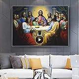 Impresión en lienzo 60x80cm sin marco Jesús Última Cena Pinturas en la pared La institución de la Eucaristía en las Escrituras Cuadros de arte de pared para LivingRoom1