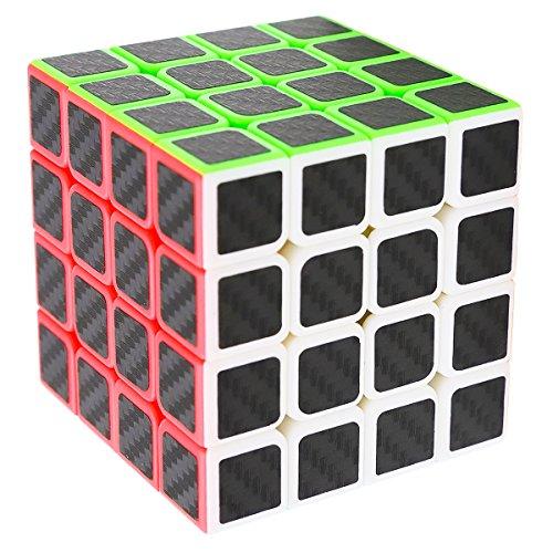 Zauberwürfel 4x4x4 Speed Cube, LSMY Speedcube Magic 4x4 Puzzle Würfel Carbon Faser Aufkleber 3D IQ Spielzeug