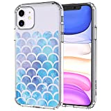 MOSNOVO iPhone 11 Case, Mermaid Scale Pattern Clear Design Transparent Plastic Hard Back Case with TPU Bumper Protective Case Cover for Apple iPhone 11 (2019)