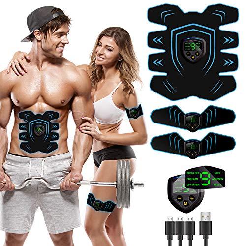 AILEDA Elettrostimolatore per Addominali, Elettrostimolatore Muscolare, EMS Stimolatore Muscolare, ABS Trainer/Toner per Addome/Braccio/Vita/Gambe Home Gym