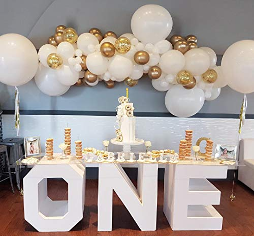 AlexBasic Party Balloons 112 Pcs White & Gold Metallic Balloons Latex Balloons Arch with Decorating Garland Strip & Glue Dots for Wedding, Baby Shower, Party