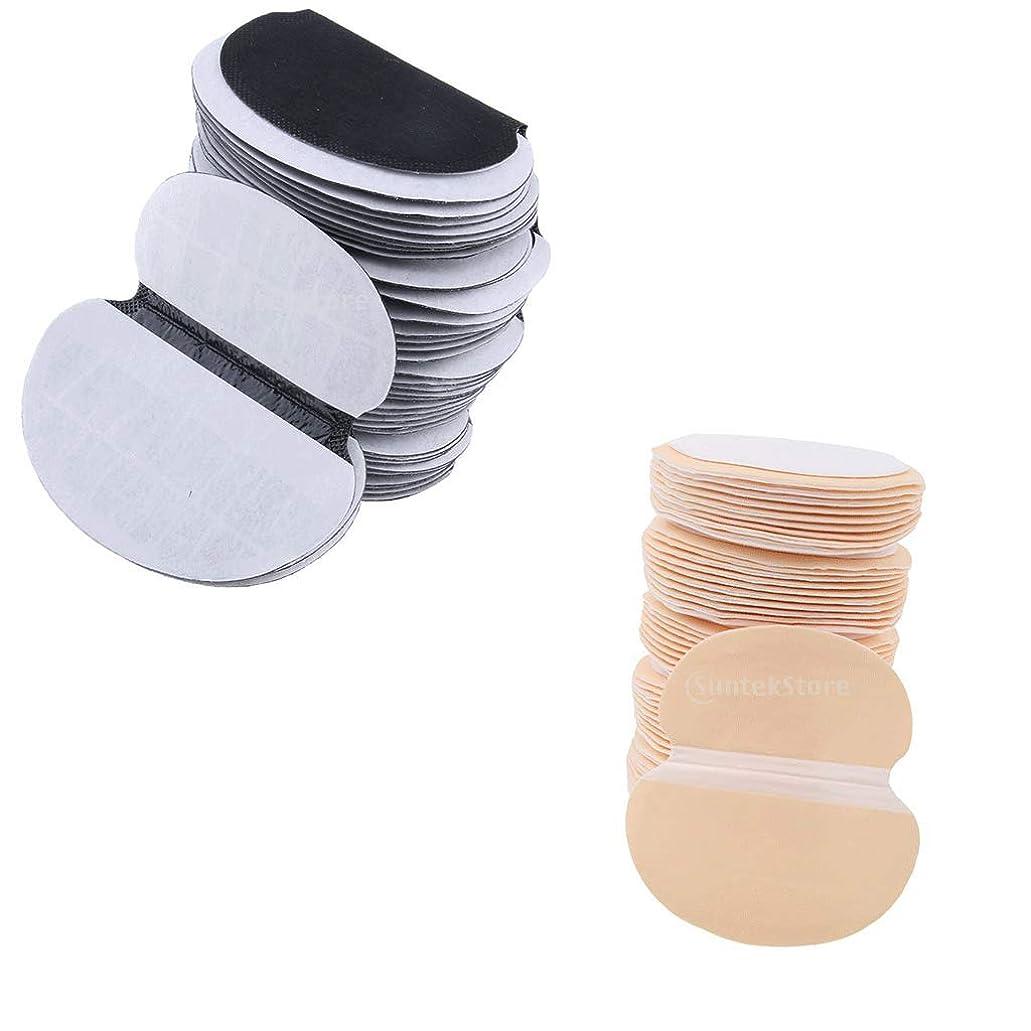 dailymall 100個の脇の下汗パッド-男性と女性のための多汗症との戦い-目に見えない、接着剤、使い捨て-脇の下ガードシールド-ブラック/スキンクロール
