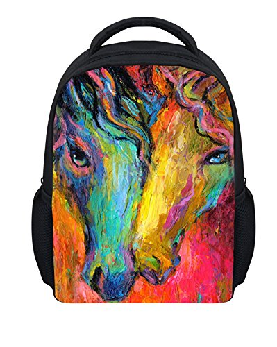 Wrail Children's Rucksack 3D Effect Picture Dog Design School Bag Backpack Daypack for School and Travel, pferd2, 24x10x30cm