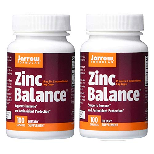 Jarrow Formulas Zinc Balance 15 Milligrams Zinc (L-Methionine) 1 Milligram Copper Supports Immune and Antioxicant Protection - Dietary Supplement - 100 Capsules (Pack of 2)