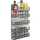 3S Spice Rack Organizer Wall Mount for Kitchen Cabinet Pantry Door, Hanging Spice Rack Storage Shelf -5 Tier Metal Mesh Full Cover Design, Black
