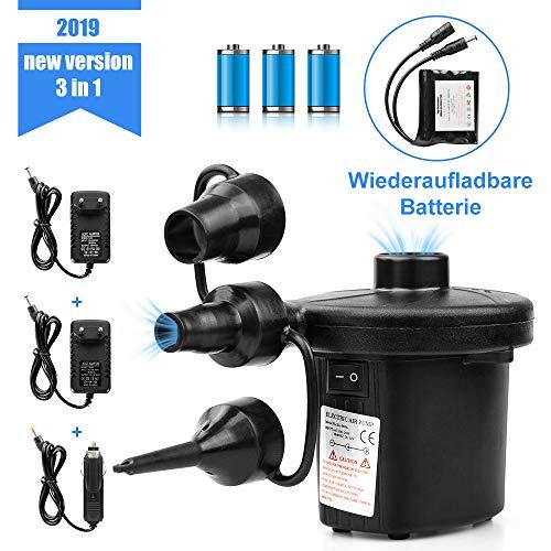 Binken Elektrische Luftpumpe Elektrische Pumpe Multifunktion Elektropumpe mit 3 Luftdüse Kompressor für Luftmatratzen, Elektropumpe 2 in 1 Inflate und Deflate Kissen,Bett,Boot,Schwimmring