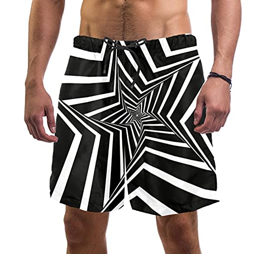 Bañador para Hombre Vértigo Blanco y Negro Trajes de Baño Secado rápido Bañadores de natación Impresión Swim Trunks Short de Playa para Piscina Surf Playa M