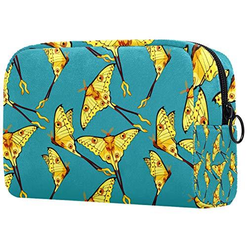 ATOMO Bolsa de maquillaje, bolsa de viaje cosmética de moda, bolsa de aseo grande, organizador de maquillaje para mujeres, mariposa turquesa