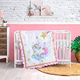 3 Piece Unicorn Crib Bedding Sets for Girls, Luxury Unicorn Nursery Bedding Sets for Baby, Unicorn & Sparkle Themein Metallic Gold, Pink, Purple and Sky Blue