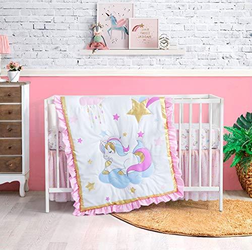 Little Grape Land 3 Piece Unicorn Crib Bedding Sets for Girls, Luxury Unicorn & Sparkle Baby Nursery Bedding Set in Metallic Gold, Pink, Purple and Sky Blue