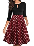 YATHON Women's Classic Retro Polka Dot Dress Elegant 50 s Fit and Flare Cute V Neck 3/4 Sleeve Casual Fall Homecoming Wedding Guest Dresses with Pockets (L, YT018-Wine Red Dot-3/4)
