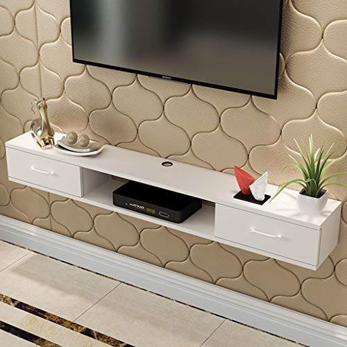 XXHDEE TV-kast, wandmontage, wandhouder, met lade, DVD, TV-box, kabelbox, wit
