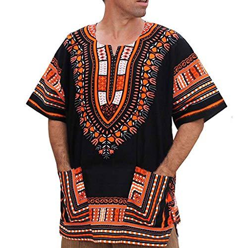 Camiseta de los Hombres,RETUROM Hombres Verano Vintage Impresión Africana Bolsillos de Manga...