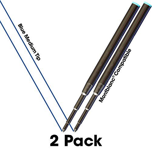Jaymo - 2 – Reemplazo de recargas de tinta azul compatibles con Montblanc® bolígrafos. Escritura fluida tinta alemana y punta media 0,7mm Comparar con Montblanc Pacifico Azul 105151/116213/MB35094