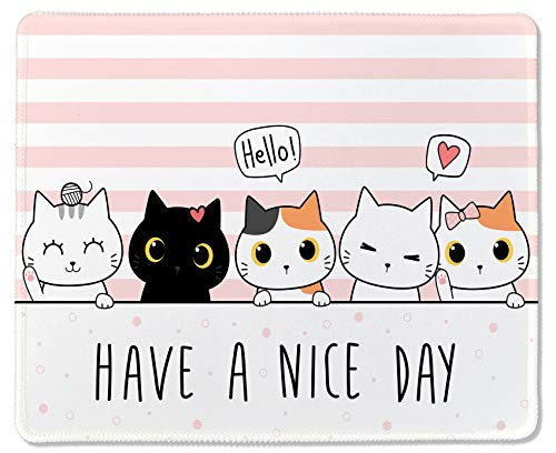 Gaming Mouse Pad Custom Cute Cats,Comfortable Rubber Base Mouse Mat for Woman,Non-Slip Mousepad for Computers Laptop Office(Have a Nice Day)