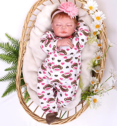 antboat Muñecas Reborn Bebé Niña 22 Pulgadas 55cm Silicona Suave Vinilo Animado Realista Hecho a Mano Reborn Niña Regalos de Cumpleanos Reborn Toddler