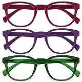 Opulize Pop Pack 3 Retro Redondo Mate Suave Pink Púrpura Verde Hombres Mujeres Gafas De Lectura Bisagras Resorte RRR2-456 +1,50