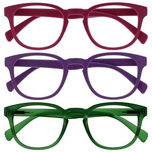 Opulize Pop Pack 3 Retro Redondo Mate Suave Pink Púrpura Verde Hombres Mujeres Gafas De Lectura Bisagras Resorte RRR2-456 +3,00