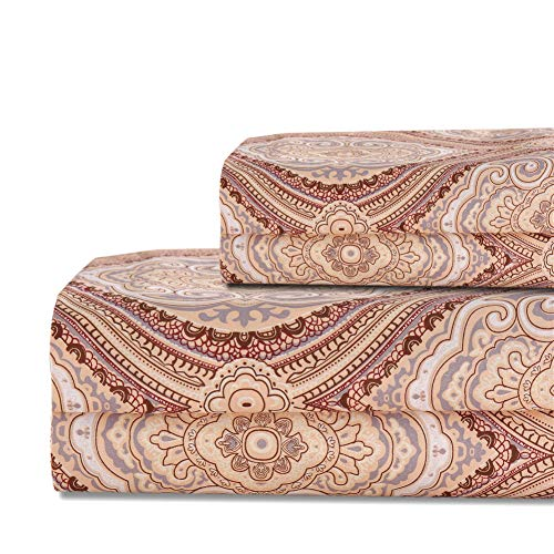 Bedlifes King Sheet Set Paisley Luxury Ultra Soft Wrinkle-Free Hypoallergenic Pattern Printed Bed Sheets Deep Pocket Flat Sheet& Fitted Sheet& Pillowcases 100% Microfiber 4 Piece Brown King Size