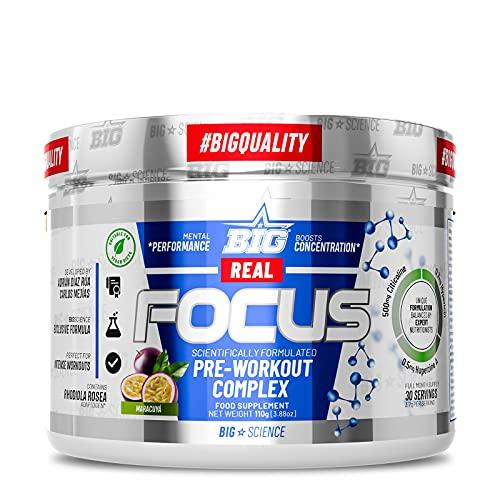 BIG - Real Focus   Preentreno gimnasio con cafeína (300mg)   Reduce la sensación de cansancio   Maximiza la concentración durante el entreno   Retrasa la aparición de la fatiga   30 tomas