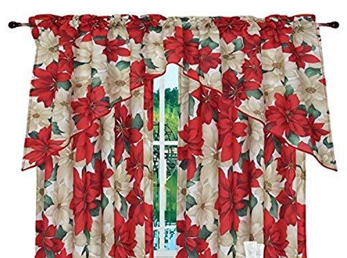 Violet Linen Decorative Christmas Printed Poinsettia Floral Design 3 Piece Kitchen Curtain Set