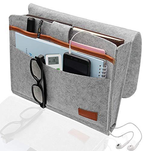 AEESRRU Organizador para colgar el sofá o la cama, de fieltro grueso, antideslizante, para libros, revistas, mando a distancia, teléfono móvil, color gris