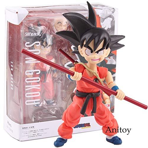Yvonnezhang SHF SH Figuarts SHFiguarts Dragon Ball Figura Goku Figura de acción Goku y Somersault Cloud Childhood Ver. Goku Toys 12cm, con Caja.