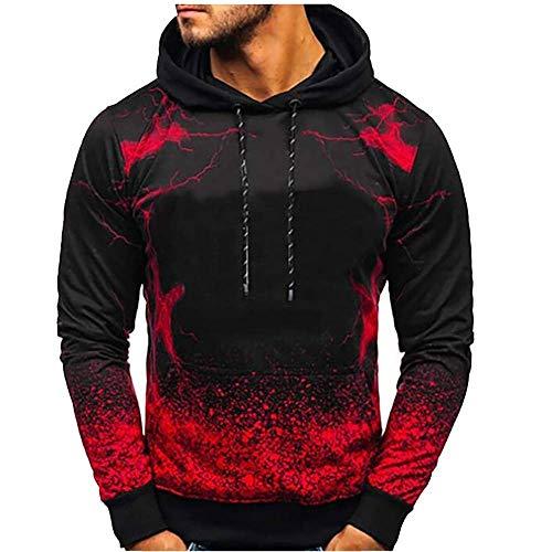 ZHOUJEE Men's Casual Fashion Digital Printing Hoodie Sweatshirt Sweater; red, Gray, Blue