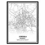 Uppsala Schweden Karte Wandkunst Leinwand drucken Poster
