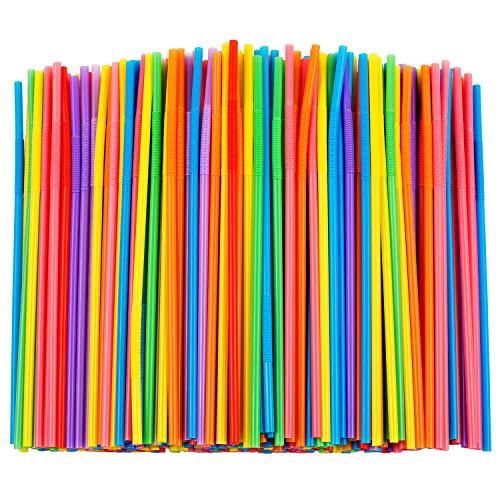 "300 Pcs Colorful Flexible Plastic Straws, BPA-Free Disposable Bendy Straws, 10.2"" Long and 0.23'' Diameter"