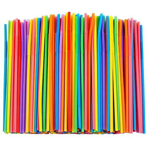 300 Pcs Colorful Flexible Plastic Straws, BPA-Free Disposable Bendy Straws, 10.2