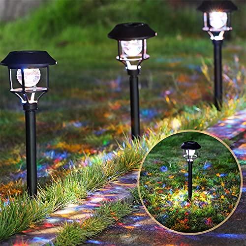 Aigostar Stella - 4 x Lámpara solar para jardín y exteriores, RGB luz de colores, IP44 a prueba de agua. Modo iluminación constante o intermitente. Perfectas para jardín, patios y caminos exteriores