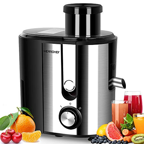 HERRCHEF Juicer Machines, Juice Extractor with 3'' Wide Mouth, BPA Free Compact Vegetable and Fruit Juicer Machines Anti-drip, Detachable and Easy to Clean Dual Speeds Stainless Steel Centrifugal Juice Maker