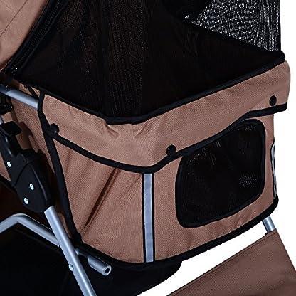 PawHut Pet Stroller Cat Dog Basket Zipper Entry Fold Cup Holder Carrier Cart Wheels Travel Brown 9