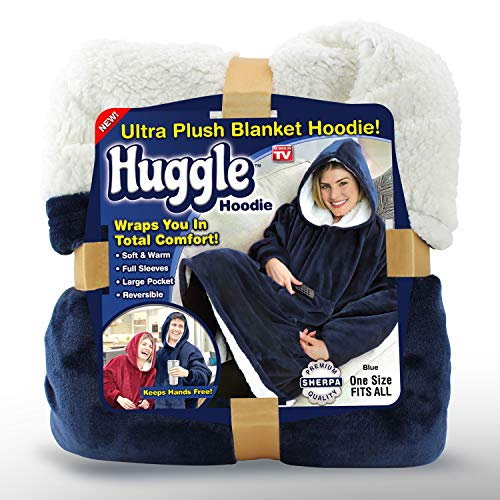 Ontel Huggle Hoodie - Hooded Robe Sweatshirt, Blue - As Seen on TV