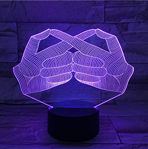 Illusion visuelle 3D Night Light Langue des signes Cool Creative Gesture Design For Holiday Gift Led Room Decorative Lamp