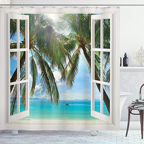 """Ambesonne Tropical Shower Curtain, Window to The Exotic Beach Landscape Pastoral Composition with Palm Trees, Cloth Fabric Bathroom Decor Set with Hooks, 70"""" Long, Aqua Green"""