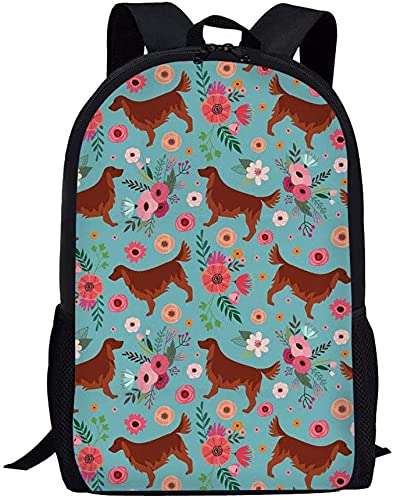 Wteqofy Irish Setter Dog Vintage Floral Backpack for College Teenagers Anti-theft School...