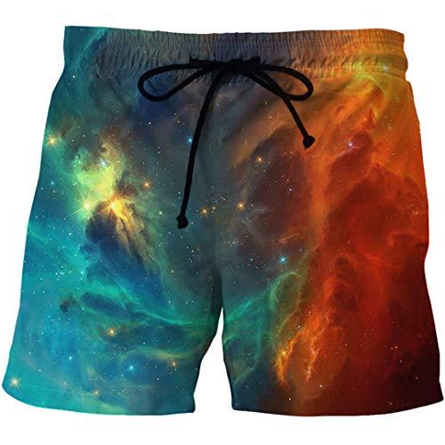 EDFLPUTB Herren Summer Quick Dry Strand Brett Boxershorts Trunk 3D Space Galaxy Printed Mesh-Board Short mit Taschen Show S