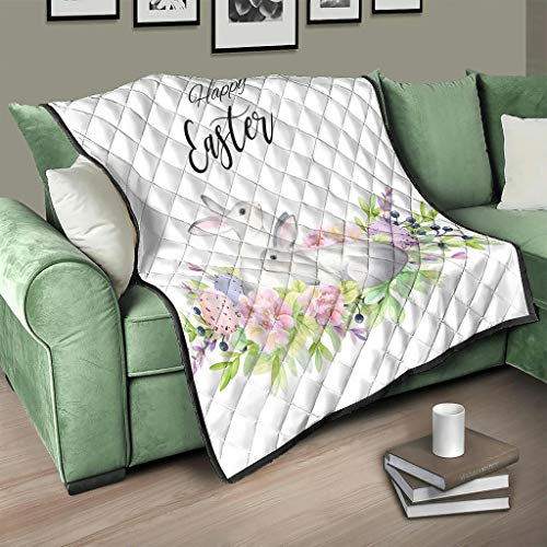 AXGM Colcha de Pascua con diseño de conejo de Pascua y flores y conejos, manta acogedora para el salón, con impresión 3D, 200 x 230 cm, color blanco
