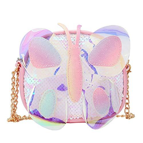 VALICLUD Bolso bandolera reversible bolso holográfico de lentejuelas con bolso de mariposa de cadena para niñas