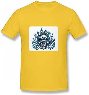 青い炎の中の頭蓋骨 Men T-Shirt メンズ Tシャツ