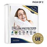 Protège Oreillers Imperméables 65x65 - Set de 2 - Molleton 100% Coton Bi-ome, Sous Taie Oreiller - Fermeture Zip - Anti-acarien,...