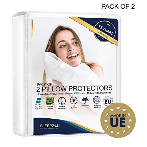 SLEEPZEN ⭐ Wasserdichter Kissenbezug 80x80 cm -2 Stück - Kissenschoner Set - 100% Baumwolle Bi-Ome Molton, Kissenbezug - Reißverschluss - Antimilben, antibakteriell, schimmelhemmend und hypoallergen
