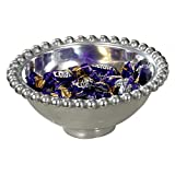 KINDWER Aluminum Imperial Beaded Round Bowl, 6-Inch, Silver
