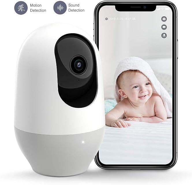Nooie Cámara WiFi 1080P Cámara IP Vigilancia Interior Inalámbrico con Micrófono y Altavoz Visión Nocturna Detección de Movimiento Seguridad para Bebé y Mascotas Compatible con iOS/AndroidAlexa