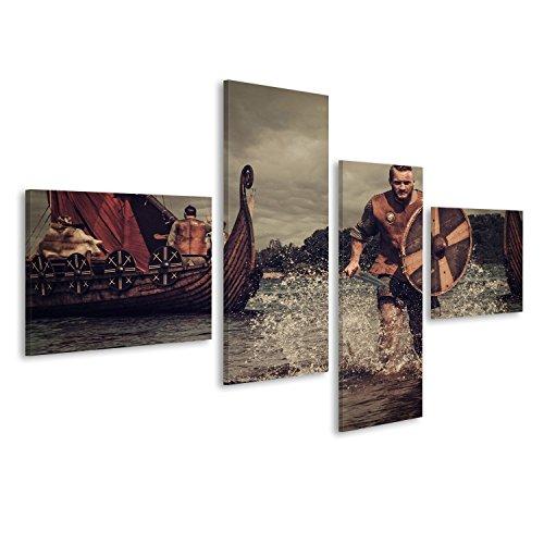 Cuadro Cuadros guerreros vikingos graves en el ataque, que se ejecutan en la orilla con Drakkar en el fondo. Impresión sobre lienzo - Formato Grande - Cuadros modernos FCQ